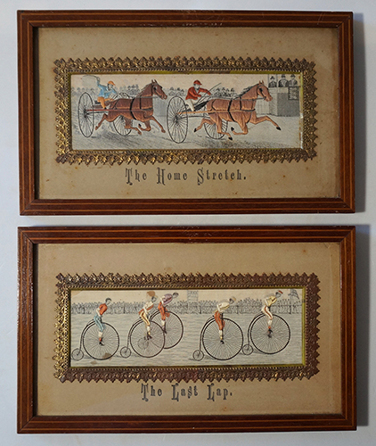 A set of 6 Stevengraphs:, - Dick Turpin's last ride on his Bonnie Black Bess; - Full Cry; - The First Point; - The Death; - The Home Stretch; - The Last Lap. Coventry, STEVENS, Thomas.