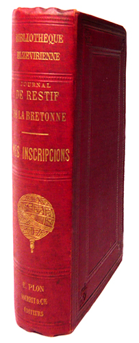 Mes inscripcions, Journal Intime (1780-1787)... Avec préface, notes et index par Paul Cottin. RESTIF DE LA BRETONNE, N.